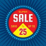 Super sale - concept banner vector illustration. Discount save up to 25%. Graphic layout. Abstract background.  royalty free illustration