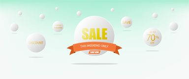 Super sale concept, white circle template banner and orange ribbon. Super sale concept, white circle template banner and orange ribbon on a blue background Stock Image