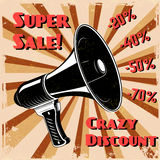 Super sale. Crazy discount. Old style megaphone  Royalty Free Stock Image