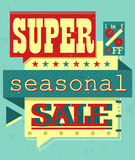 Super Sale. Creative retro style sale poster with speech bubbles in simple graphics Royalty Free Stock Photography