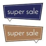 Super sale dark blue and brown banner on white background. Royalty Free Stock Images