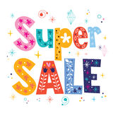Super sale decorative lettering type design Royalty Free Stock Photos