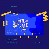 Super sale discount banner with fluid style. Template for design advertising and poster on liquid and blue background. Flat vector. Illustration EPS 10 stock illustration