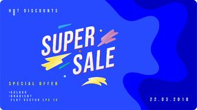 Super sale discount banner with fluid style. Template for design advertising and poster on liquid and colour background. Flat vect. Or illustration EPS 10 royalty free illustration