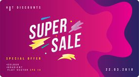 Super sale discount banner with fluid style. Template for design advertising and poster on liquid and colour background. Flat vect. Or illustration EPS 10 vector illustration