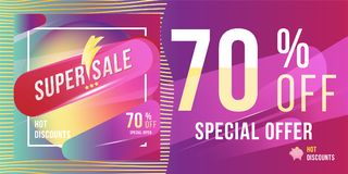 Super sale 70 discount bright rectangular poster format and flyer. Template for design advertising and banner on colour background. Flat  illustration EPS 10 Royalty Free Stock Photography