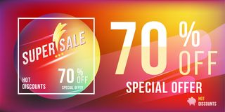 Super sale 70 discount bright rectangular poster format and flyer. Template for design advertising and banner on colour background Royalty Free Stock Photo