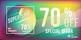 Super sale 70 discount bright rectangular poster format and flyer. Template for design advertising and banner on colour background. Flat  illustration EPS 10 Stock Photography