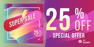Super sale 25 discount bright rectangular poster format and flyer. Template for design advertising and banner on colour background. Flat  illustration EPS 10 Stock Image