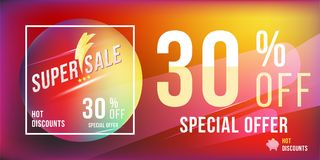 Super sale 30 discount bright rectangular poster format and flyer. Template for design advertising and banner on colour background. Flat  illustration EPS 10 Stock Images
