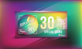 Super sale 30 discount bright rectangular poster format and flyer. Template for design advertising and banner on colour background. Super sale 30 off discount Royalty Free Stock Image