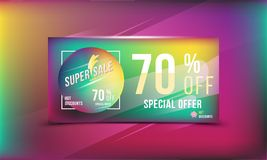 Super sale 70 discount bright rectangular poster format and flyer. Template for design advertising and banner on colour background Stock Photo