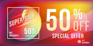 Super sale 50 discount bright rectangular poster format and flyer. Template for design advertising and banner on colour background Stock Photography