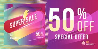 Super sale 50 discount bright rectangular poster format and flyer. Template for design advertising and banner on colour background. Flat  illustration EPS 10 Royalty Free Stock Photo