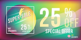 Super sale 25 discount bright rectangular poster format and flyer. Template for design advertising and banner on colour background. Flat  illustration EPS 10 Royalty Free Stock Photos