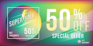 Super sale 50 discount bright rectangular poster format and flyer. Template for design advertising and banner on colour background. Flat illustration EPS 10 Vector Illustration