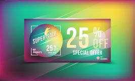 Super sale 25 discount bright rectangular poster format and flyer. Template for design advertising and banner on colour background. Super sale 25 off discount Royalty Free Stock Images
