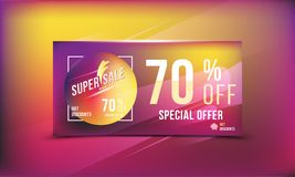 Super sale 70 discount bright rectangular poster format and flyer. Template for design advertising and banner on colour background. Super sale 70 off discount Royalty Free Illustration