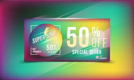 Super sale 50 discount bright rectangular poster format and flyer. Template for design advertising and banner on colour background. Super sale 50 off discount Stock Illustration