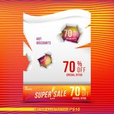 Super sale 70 discount bright rectangular poster format and flyer with torn paper. Template for design advertising and banner on c. Olour background. Flat Royalty Free Stock Photo
