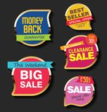 Super Sale discount labels tags and stickers collection Stock Photos