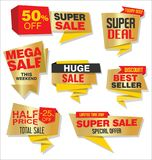 Super Sale discount labels tags and stickers collection Royalty Free Stock Photography