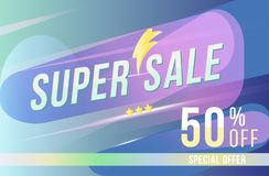 Super sale 50 discount poster format and flyer. Template for design advertising and banner on colour background. Flat  illus Royalty Free Stock Photography