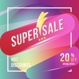 Super sale 20 discount square poster format and flyer. Template for design advertising and banner on colour background. Flat vecto. Super sale 20 discount square Stock Photography