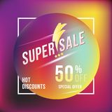 Super sale 50 discount square poster format and flyer. Template for design advertising and banner on colour background. Flat vecto Royalty Free Stock Image