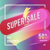 Super sale 50 discount square poster format and flyer. Template for design advertising and banner on colour background. Flat vecto. Super sale 50 discount square Stock Photo