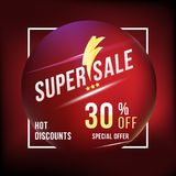 Super sale 30 discount square poster format and flyer. Template for design advertising and banner on colour background. Flat vecto Royalty Free Stock Images