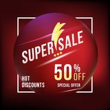 Super sale 50 discount square poster format and flyer. Template for design advertising and banner on colour background. Flat vecto. Super sale 50 discount square Royalty Free Stock Image