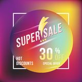 Super sale 30 discount square poster format and flyer. Template for design advertising and banner on colour background. Flat vecto Stock Photography