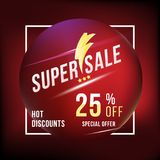 Super sale 25 discount square poster format and flyer. Template for design advertising and banner on colour background. Flat vecto. Super sale 25 discount square Stock Image