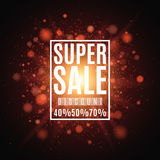 Super sale. Discounts 40, 50, 70 percent. Brochure for the poster. Background of red lights and glare. A bright flash of light Stock Images
