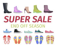 Super Sale. End Off Season. Shoes Set Illustration Royalty Free Stock Photography