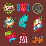 Super sale extra bonus banners text in color drawn label business shopping internet promotion vector illustration royalty free illustration