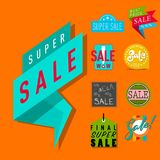 Super sale extra bonus banners text in color drawn label business shopping internet promotion vector illustration. Super sale extra bonus banners text in color stock illustration