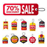 Super sale extra bonus red banners text label business shopping internet promotion discount offer vector illustration. Internet promotion shopping advertising royalty free illustration
