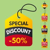 Super sale extra bonus red banners text label business shopping internet promotion discount offer vector illustration. Internet promotion shopping advertising stock illustration