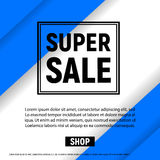 Super sale with  frame business graphics brochures design templates blue color Stock Photography