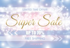Super sale glow sparkling web banner. Golden text on blue pink luminous background. Free shipping. White up to 70 percent discount. Limited time offer vector illustration
