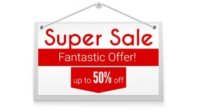 Super sale, horizontal poster with text design. Tag hanging on white wall. Offer about fantastic discounts.Get up to. Fifty percent off. Advertising poster for Royalty Free Stock Photo