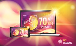 Super sale is a hot discount of 70 off. Concept of advertising with smartphone and laptop. Banner with hot discounts and realistic. Fire with effects on colored Stock Illustration