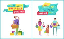 Super Sale and Hot Price on Geometric Tapes Advert. Super sale, hot price for exclusive products banner. Advert geometrical labels with cartoon man searching for stock illustration