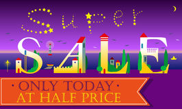 Super Sale Inscription. Cute houses Font Royalty Free Stock Photos