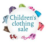 Super Sale kids clothing and accessories Royalty Free Stock Image