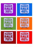 Super sale label set, percent discount, labels in different colors for 30, 40, 50, 60, 70, 80 percent, rolled paper shapes with sh Royalty Free Stock Photography