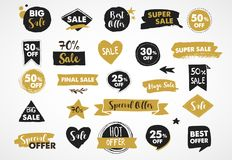 Super Sale labels, gold and black modern hand drawn stickers and tags Royalty Free Stock Photos