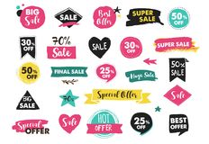 Super Sale labels, modern hand drawn stickers and tags Royalty Free Stock Photos